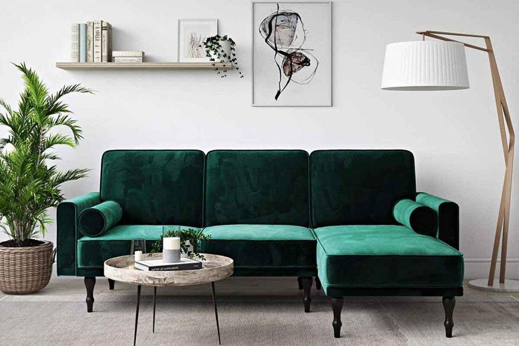 How To Decorate Around A Dark Green Sofa 1 Decorating Around A Dark Green Sofa