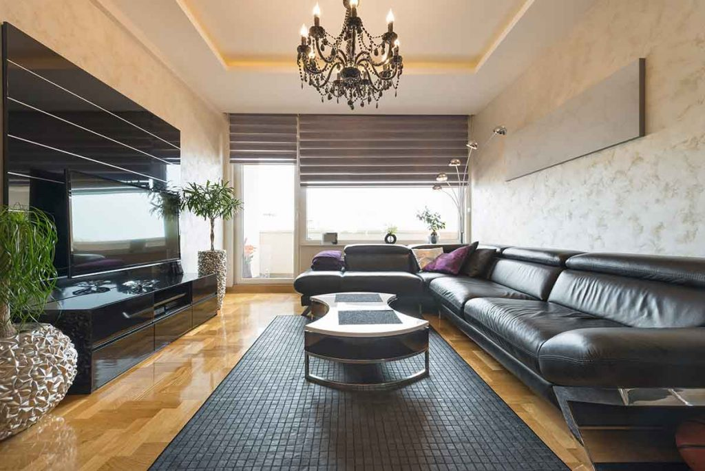 How To Decorate Around A Black Leather Sofa 9 TV stands go well with a black leather sofa