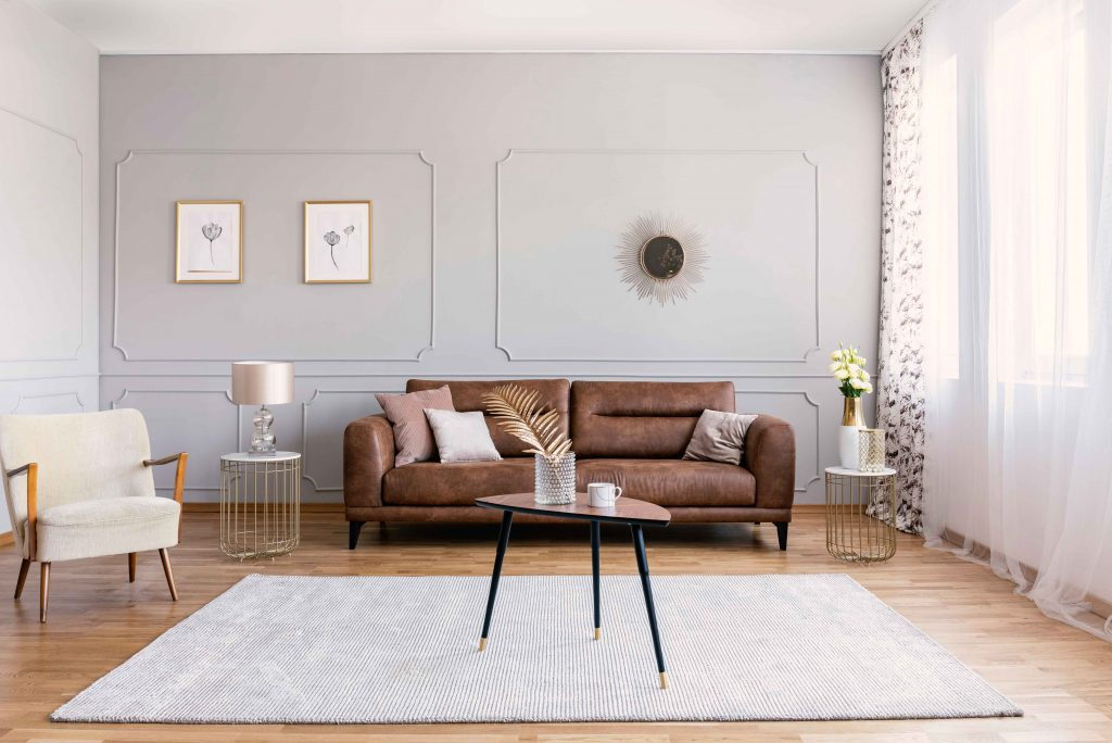 What color area rug goes with a brown leather sofa