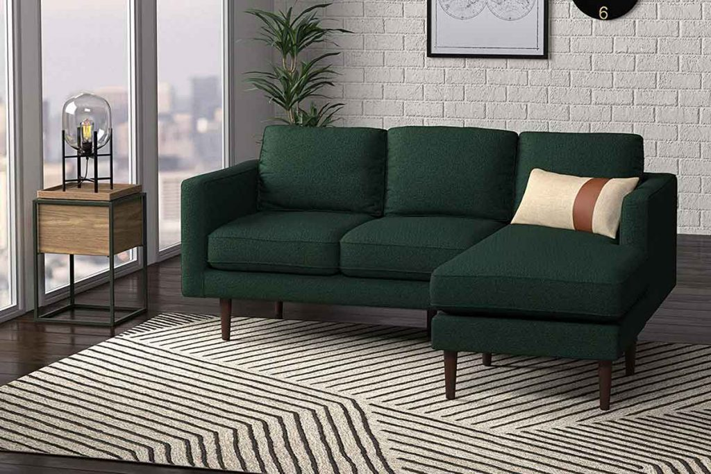 How To Decorate Around A Dark Green Sofa 4 What color area rug goes with a dark green sofa