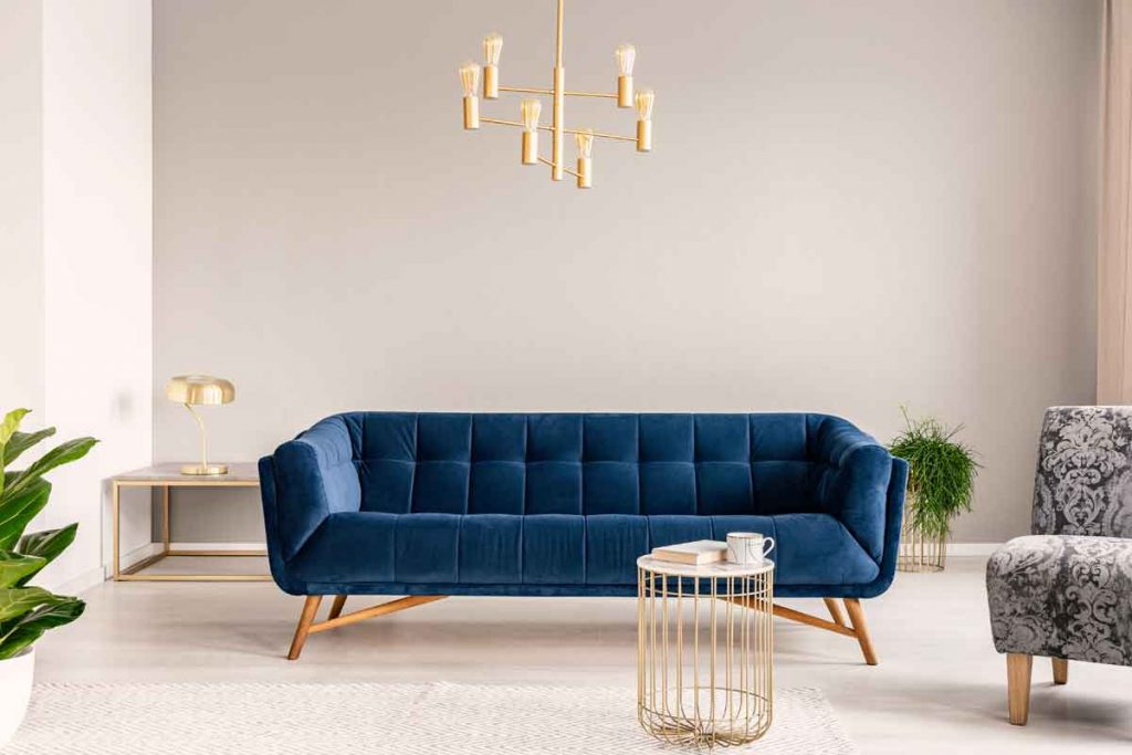 wall color goes with a navy blue sofa